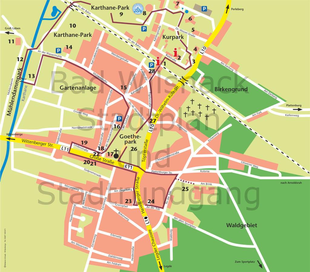Stadtplan von Bad Wilsnack mit Stadtrundgang zum Download